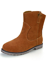 Women's Shoes Suede Flat Heel Bootie / Round Toe / Closed Toe Boots Dress / Casual Black / Brown / Beige