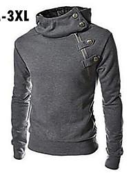 Men's Plus Size Solid Black/Brown/Dark Gray Hoody,Casual Stand Longe Sleeve Zipper
