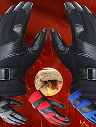 Men's Outdoor Motorcycle Cycling Knitted Leather Full Fingers Warm Gloves