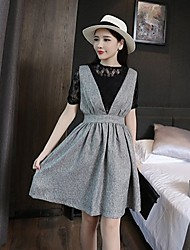 Women's Lace Gray Dress , Vintage/Casual/Lace/Cute/Work Round Neck/Deep V ½ Length Sleeve