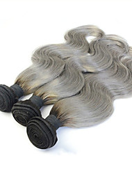 "3pcs/lot 10""-34""Peruvian Body Wave Grey Hair Extensions Ombre Human Hair Weave Ombre Hair Weft"