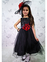 Halloween Flower Girl's Cotton / Mesh / Polyester Dress , All Seasons Sleeveless