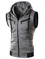 YS Men's Hoodie Coats & Jackets , Cotton Blend Sleeveless Casual Pocket Winter