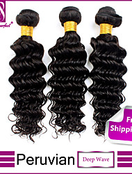 Peruvian Virgin Hair Deep Wave 3Pcs Bundles Deep Wave Unprocessed Human Hair Wefts