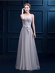Floor-length Tulle Bridesmaid Dress - A-line Strapless with Lace