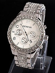 Geneva Bling Crystal Ladies Women Girl Unisex Fashion Watch Imitation Diamond Stainless Steel Quartz Wrist Watch Cool Watches Unique Watches