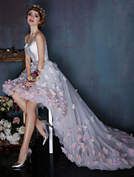Ball Gown Strapless Asymmetrical Tulle Charmeuse Formal Evening Dress with Flower(s) Sash / Ribbon