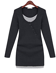 Women's Round Neck Long Sleeve Tunic Dress
