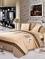 Mingjie® Yellow Leopard Queen and Twin Size Sanding Bedding Sets 4pcs for Boys and Girls Bed Linen China Wholesale