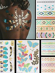 none - Tatuajes Adhesivos - Non Toxic / Modelo / Talla Grande / Hawaiian / Parte Lumbar / Waterproof / Metálico -Series de Joya / Series