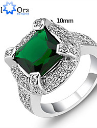 Band Rings Imitation Emerald Gemstone Sterling Silver Fashion Olive Jewelry Party 1pc