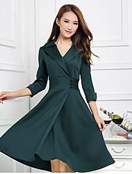 plus size vestido verde, olhar lapela escritório colarinho das mulheres