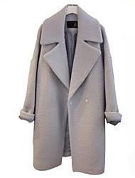 Women's Solid Gray Coat , Casual Long Sleeve Wool