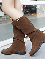 Черный / Коричневый / Красный - Женская обувь - На каждый день - Замша - На танкетке - С круглым носком / Модная обувь - Ботинки