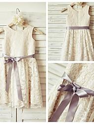 Sheath/Column Knee-length Flower Girl Dress - Lace  Sleeveless