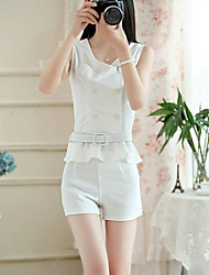 Women's Casual/Work Micro-elastic Sleeveless Regular Blouse 2PCS a Set with Belt(Cotton/Linen/Microfiber)