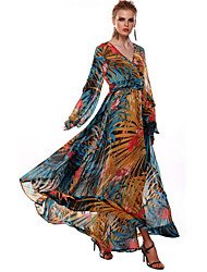 Women's Floral/Print Multi-color Dress , Vintage/Sexy/Beach/Party/Maxi V Neck Long Sleeve Flower