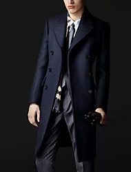 Male Fashion Double Breasted Wool Coat Slim Medium-long Wool Cashmere Trench