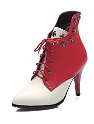 Damen-Stiefel-Outddor Büro Lässig-Kunstleder-Stöckelabsatz-Modische Stiefel-Schwarz Gelb Rot