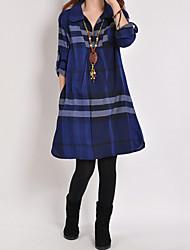 Mulheres Vestido Altura dos Joelhos Manga Longa Colarinho de Camisa Bolso/Pregueado Mulheres