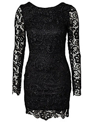 Women's Backless Patchwork / Lace Black / Navy Blue Dress , Sexy / Lace Round Neck Long Sleeve