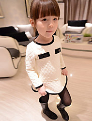 Girl's Fashion Sweet Long Sleeve Cotton Blend  Dress