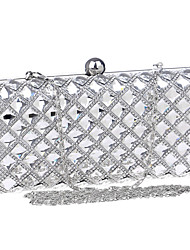 Women Polyester / Metal Minaudiere Clutch / Evening Bag - Silver / Black