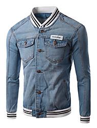 Men's Pure Long Sleeve Jacket , Cotton / Denim Casual