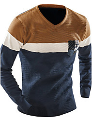 Men's Striped Pullover , Cotton Long Sleeve