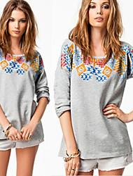 YKK Women's Print Gray Tops & Blouses , Casual Round Long Sleeve