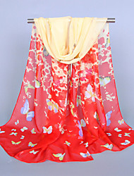 Women's Chiffon Butterfly Print Scarf,Red/Navy Blue/Beige/Black/Pink/Rose/Blue