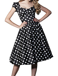 Women's Retro 50s Deep U-neck Polka Dot Short Sleeve Swing Party Dress