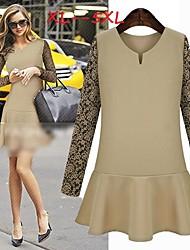 Women's Lace White/Black Plus Size Dresses , Casual/Lace Round Long Sleeve