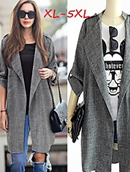Women's Solid Gray Coats & Jackets , Casual Tailored Collar Long Sleeve