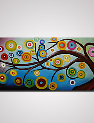 Hand-Painted Abstract Tree with Round Leaves Oil Painting on Canvas Unframed