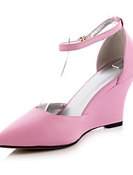 Women's Shoes Leather Wedge Heel Wedges/Pointed Toe Heels Casual Black/Yellow/Pink/White/Silver