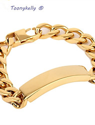 ToonykellyLength 21CM Width 1.3CM Gold Fashionable Men Link Bracelet(1pc)
