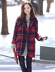 Women's Check / Solid Red Coat , Vintage Long Sleeve Cotton