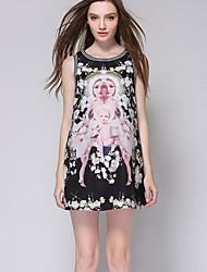 Women's Print Black T-shirt , Round Neck Sleeveless