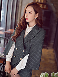 Pink Doll®Women's Casual OL Batwing Sleeve Cloak Check Blazer