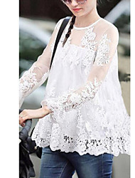 DUIQI Women's Lace White / Black Tops & Blouses , Vintage / Sexy / Casual / Party / Work Round Long Sleeve