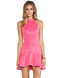 Women's Solid Pink Dress , Bodycon Halter Sleeveless