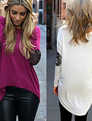 FIFI Women's Patchwork White / Black / Purple T-Shirts , Bodycon / Casual / Work Round Long Sleeve