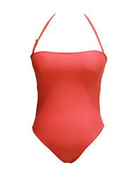 Kvinders Polyester/Spandex Ensfarvet En del