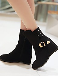 Women's Shoes Fleece Wedge Heel Wedges/Fashion Boots/Round Toe Boots Dress/Casual Black/Blue/Brown/Red