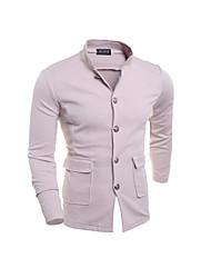 Men's Long Sleeve Short Trench coat , Cotton / Cotton Blend Pure