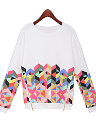 Women Geometric Print Sweatshirt Jumper Sweater Top Long Sleeve Pullover