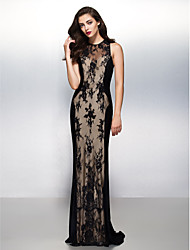 TS Couture® Formal Evening / Black Tie Gala Dress Sheath / Column Jewel Sweep / Brush Train Lace with Lace