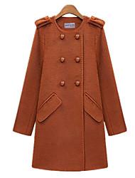 Women's Solid Black / Orange Coat , Work Long Sleeve Wool