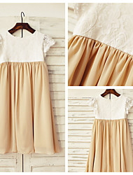 Sheath/Column Knee-length Flower Girl Dress - Chiffon / Lace Short Sleeve